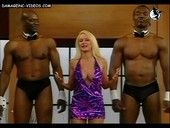 Luciana Salazar with two black guys